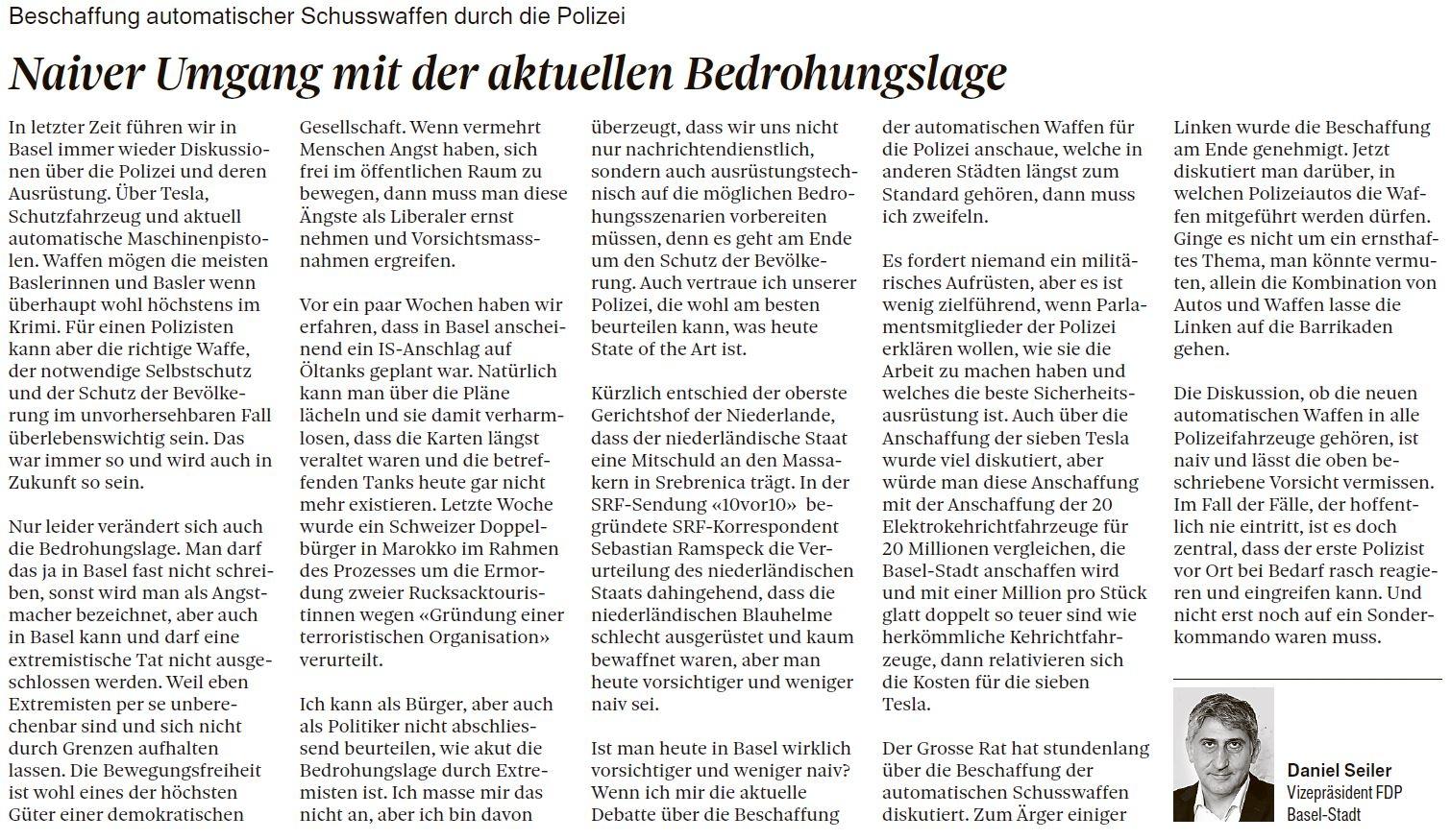 Gastbeitrag in der Basler Zeitung