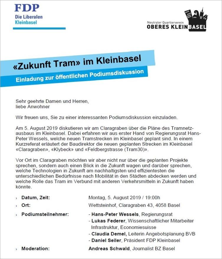 Öffentliche Podiumsdiskussion «Zukunft Tram»  am 5. August 2019