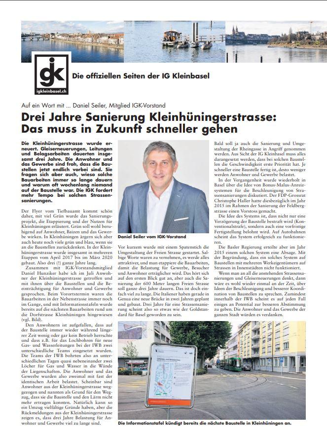 3 Jahre Sanierung Kleinhüningerstrasse: Das muss in Zukunft schneller gehen.